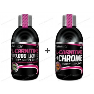 Akcia: L-Carnitine 100000 + L-Carnitine+Chrom Zadarmo - Biotech USA - 500ml+500ml / Višňa