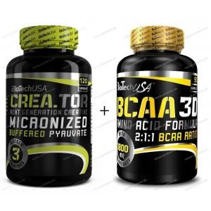 Akcia: Crea.Tor + BCAA Nano 3D Zadarmo - Biotech USA - 120 tbl. + 90 kaps.